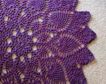 5ft Chunky Purple Handmade Doily Rug