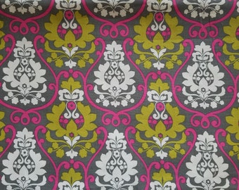 Damask Fabric- Grey and Hot Pink- Fabric with Damask- Apparel Fabric- Cotton Fabric- Damask Material- Quilting Fabric