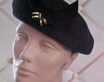 1940s Black Felt Hat with black felt and gold Ornament  #H13