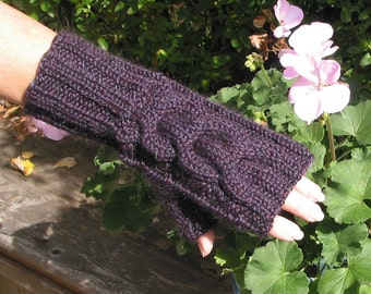 Plum Dark Purple Fingerless Gloves SOFT ALPACA Blend - Hand Knit