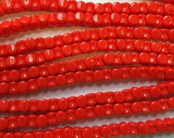 Pellet Beads Opaque Red Czech Pressed Glass Pellets 4x6mm 30 beads PLT46-93180