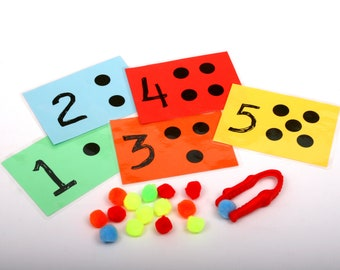 Early number learning - educational toy, busy bag, math counting, fine motor, school readiness kindergarten, prep and preschool activity