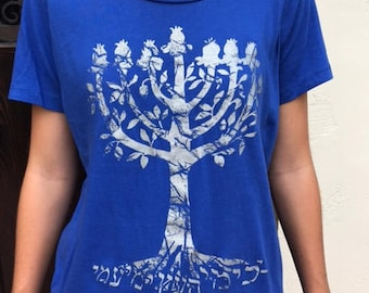 Women's Menorah Pomegranate Tree T-Shirt Hebrew Jewish