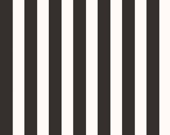 Yes Please Stripes Black - Riley Blake Designs - Black and Cream Stripe - Quilting Cotton Fabric - choose your cut