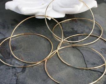 14k Gold Filled Bracelets Set of Six 6 Stacking Bangle Skinny Bracelet 14 Karat Gold Fill Bangles Golden Summer Resort Wear Sunshine Love