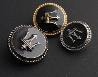 6 Pcs 0.45~0.91 Inches Retro Gold/Silver/Gun Spear Metal Shank Buttons For Suits Coats