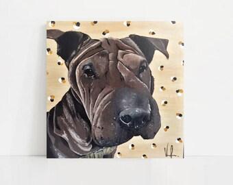 Hand Painted Custom Pet Portrait, Acrylic on Wood