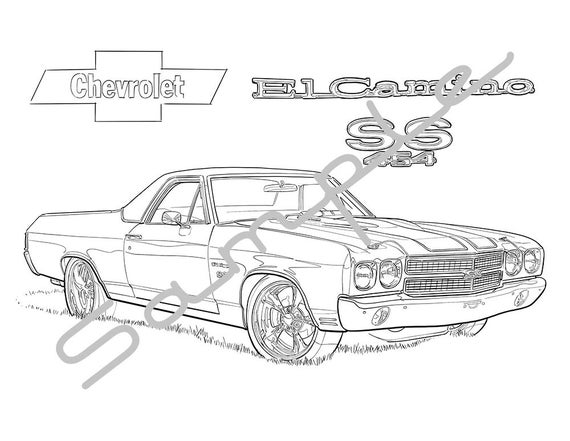 1970 chevy el camino ss adult coloring page printable