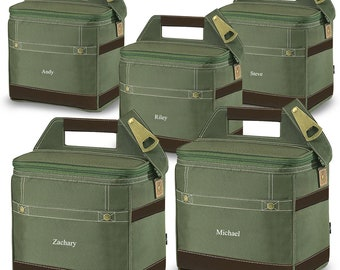 Groomsmen Gifts 12-pack Cooler Totes Set of 5 - Personalized Cooler Set of 5 - Embroidered Coolers - Groomsmen Coolers - GC1480x5 Khaki