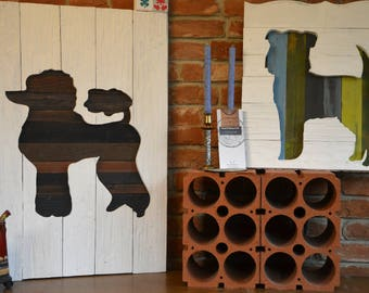 """Wooden Picture """"Poodle"""" - 95x65cm"""