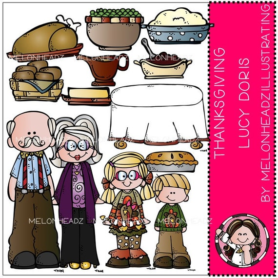 Thanksgiving Dinner clip art - Lucy Doris from MelonheadzClipArt on Etsy  Studio