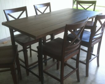 Industrial Pipe Leg Dining Table - Counter Height