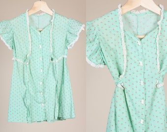 60s Floral Girls Dress // Vintage Green Button Up Lace Boho Kids Clothing