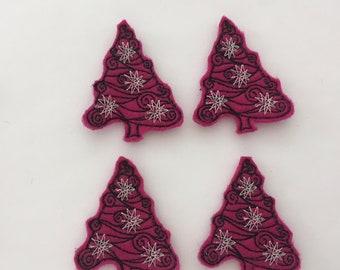 Christmas Tree Feltie Set of 4 - Tree Feltie - Christmas Feltie - Holiday Feltie