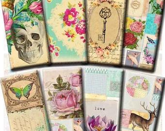 INSTANT DIGITAL DOWNLOAD - 1x2 Inch Domino Pendants - French Ephemera - Victorian Skulls Birds Keys Roses Butterflies - Pink Turquoise