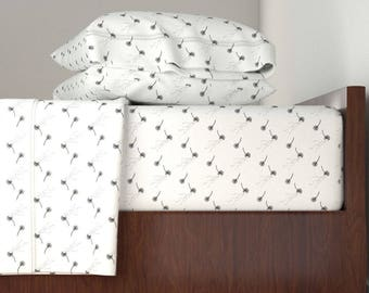 Bedding Sheet Set, Dandelion Wishes Design, Includes Fitted Sheet, Flat Sheet, and Pillowcase, Twin, Queen, King Sheet Set