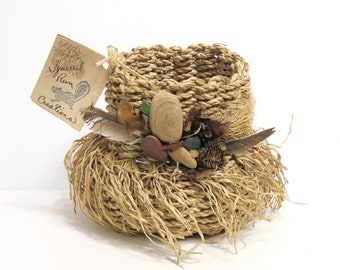 Hand Woven Embellished Art Basket/ Treasures from the Sea/ Handcrafted by Marge and Barry Drake
