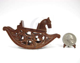 1:12 Scale Miniature Wooden Rocking Horse For Doll House [Finished in walnut]