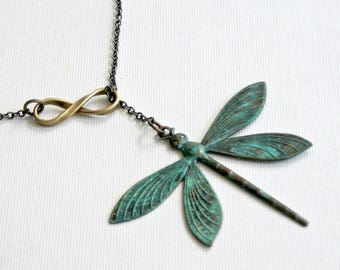 Large Dragonfly Lariat Necklace - Infinity Necklace, Verdigris Jewelry,  Patina Necklace, Garden Jewelry, Nature Jewelry