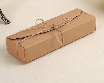 15x Natural Kraft Paper Boxes | Bomboniere Favour Box | Wedding & Party Gift Box for Bakery Cookie Cake Slice Macarons