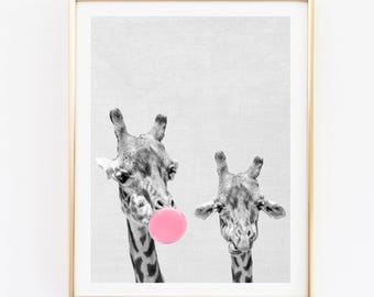 Giraffes print, nursery wall art, giraffe bubble gum poster, bubble gum wall decor, funny wall art, safari animals, girl's room digital art