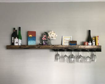 Asymmetrical Long Rustic Wood Wine Rack Shelf & Coffee Bar | Coffee Mug Holder Hanging Stemware Glass Holder Organizer Bar Shelf Unique