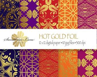 Gold Foil Digital Patterns Scrapbook Paper instant digital download