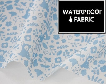 Waterproof Fabric - Blue, Bambie Pattern, 150cm Width, by Yard