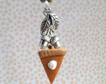 Cute mini pumpkin pie necklace with acorn and leaf charms