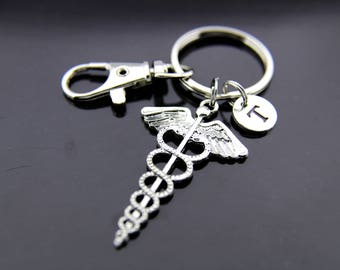 Doctor Gifts, Nurse Gifts, Medical Student Gifts, Caduceus Keychain, Silver Caduceus Charm Key ring, Personalized Keychain, Initial Keychain