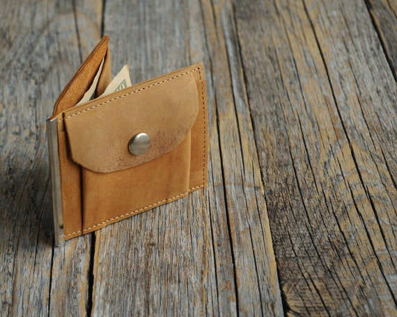 Bi-fold leather wallet, tan brown thin credit card cash holder