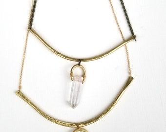 Green agate OR Crystal quartz bib necklace
