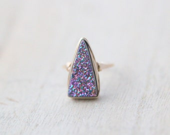 Druzy Statement Ring , Triangle Cocktail Ring in Gold , Silver , Rose Gold , Large Bezel Wrapped Stone - Insignia