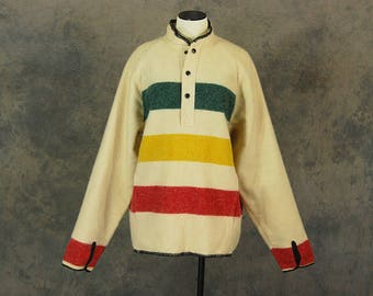 vintage 70s Blanket Coat - 1970s Boho 3 Point Stripe Wool Pullover Woolrich Henley Shirt Sz Mens L