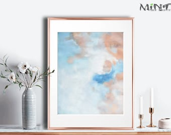 Modern Wall Art Prints, Abstract Painting Printable Art, Sky Clouds,  8x10, 9x12, 11x14, 8x12, 12x12, A4 included - Mint Fine Art No.M42