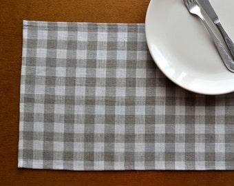 Linen Placemat Set of 4, 6, 8-,  Checkered linen placemats - 12 x 18 inch size, Natural linen placemat