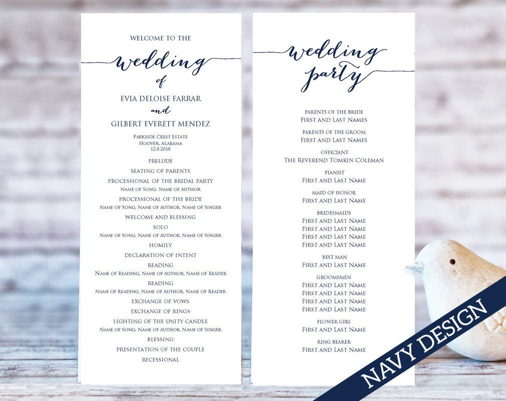 wedding program templates ceremony program template two