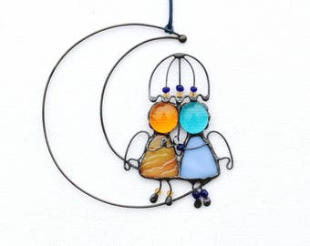 Suncatcher Stained Glass Angels Couple Love Home decor Gift
