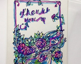 Greeting Card - Thank You with Roses - Original Marker Drawing - Blank Inside - Ivory