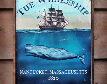 Vintage nautical wooden sign 'The Whaleship'