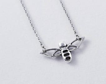 Bee Necklace, Bee Choker, Dainty Bee, Geometric Bee, Minimalist Bee Necklace, Silver Honey Bee, Bee Jewelry