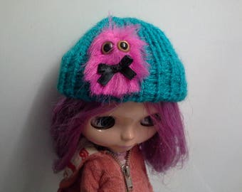 Knit Hat Beanie for Blythe Doll Teal with Hot Pink Furry Monster
