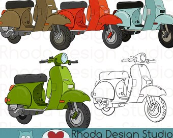 Red, Mint, Green, and Blue Moped Motorbike Scooter Stamp Digital Clip Art