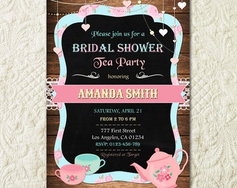 Bridal Shower Tea Party Invitation Printable Bridal Tea Party Invitation Bridal Tea Invitation Tea Party Bridal Shower Invitation Rustic