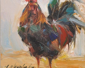 Western rooster Animal Painting chicken Original oil Painting  on canvas panel 15CMX15CM