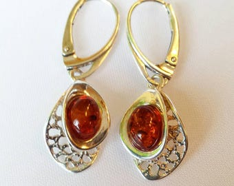 Baltics Amber earrings, sterling silver (jewelry set). Statement earrings. Organic and Eco Jewelry.