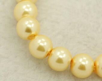"Glass Pearls Glass Beads Vintage Ivory Beads 4mm Glass Beads BULK Beads 216 pcs Wholesale Beads 32"" Strand Lemon Chiffon"