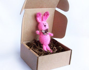 Pink bunny decor Stuffed rabbit with ribbon Home decoration Spring rustic country indoor decor Multicolor animal Gift for him her