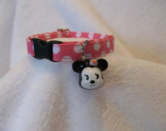 Mouse Pink Polka Dot  Cat  Collar Breakaway  Custom Made