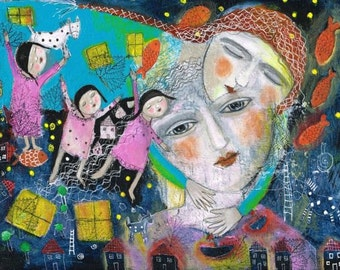 Special Price Free Shipping Mixed Media Painting  Print  Modern Folk art  ethereal love  comfort woman girl